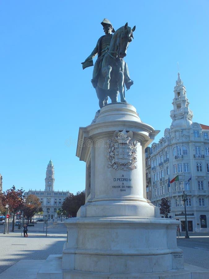 Koning Peter IV van Portugal in Liberdade-Vierkant royalty-vrije stock foto