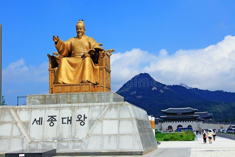 Koning Sejong Statue, Seoel, Korea royalty-vrije stock foto's