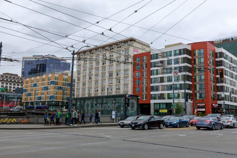 Koning Street Station, Openbaar vervoer in Seattle stock foto's