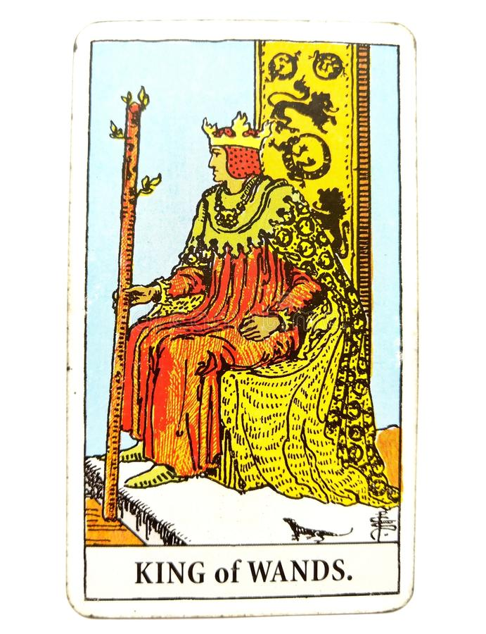 Koning van van de de Kaart Dynamische Krachtige Sterke Leider van het Toverstokjestarot Ervaren de Mentorvoorbeeldgever doel-Sett stock illustratie