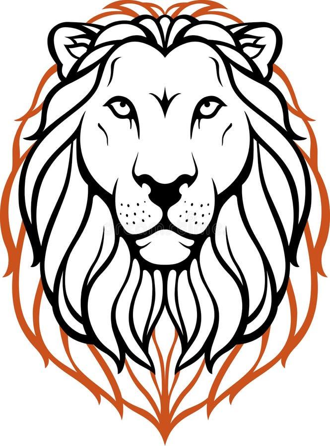 Koning van Dier - Lion Head stock illustratie