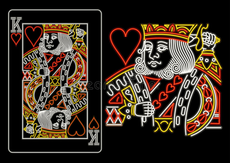 Koning van Harten in neon royalty-vrije illustratie