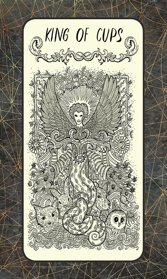 Koning van koppen Minder belangrijke Arcana-Tarotkaart vector illustratie
