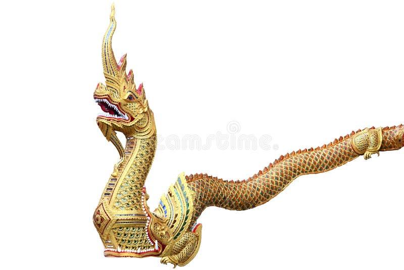 Koning van Nagas of serpent in de tempel van Thailand en tribune langs bij de voorzijde van de tempel, Tempel in Thailand dat ide stock foto's