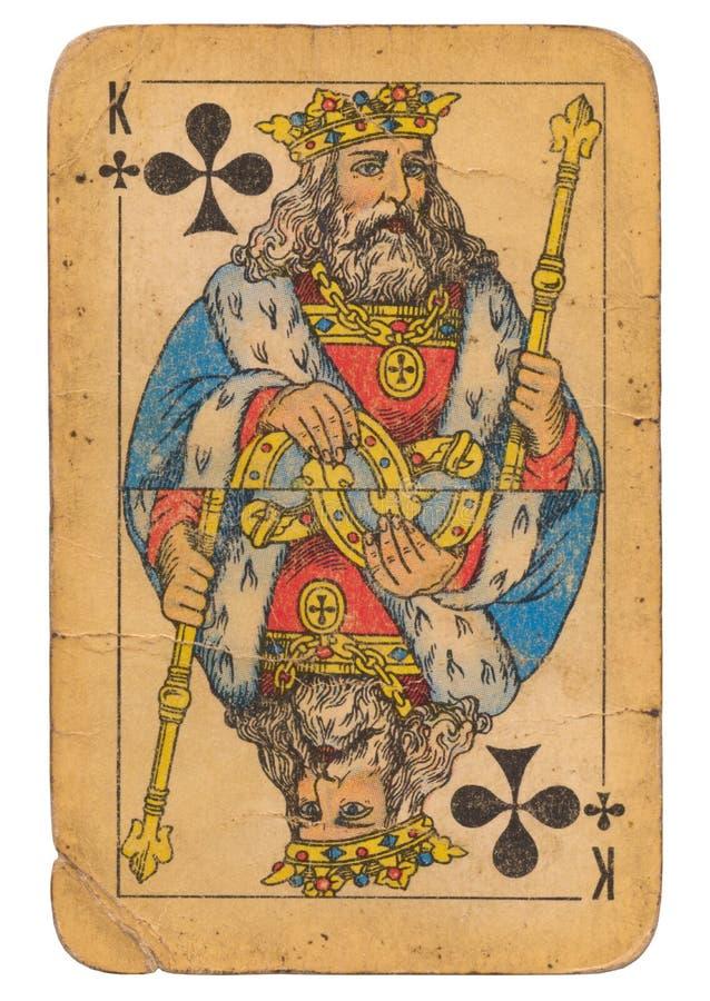 Koning van sovjet de stijlspeelkaart van Clubs oude grunge royalty-vrije stock afbeeldingen