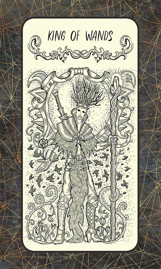 Koning van toverstokjes De Magische kaart van het Poorttarot vector illustratie