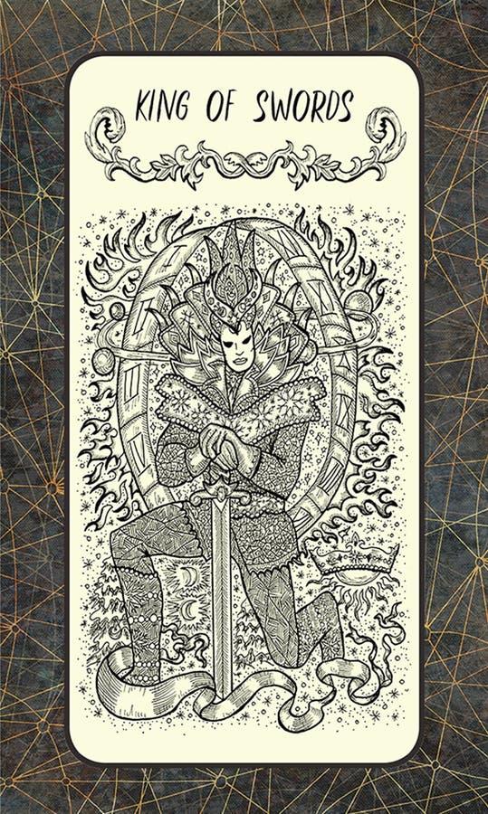 Koning van zwaarden De Magische kaart van het Poorttarot royalty-vrije illustratie
