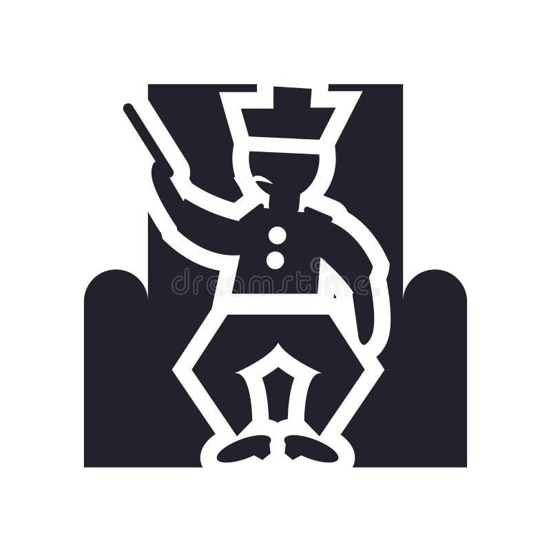 Koning in zijn vectordieteken en symbool van het troonpictogram op witte achtergrond, Koning in zijn concept van het troonembleem vector illustratie