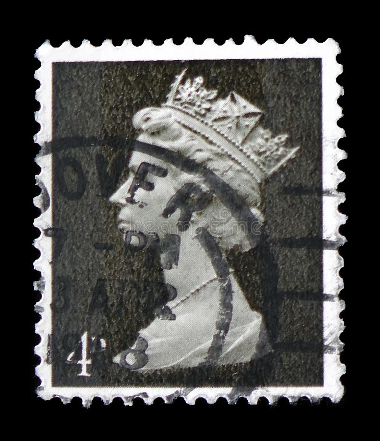 Koningin Elizabeth II - 4d Predecimal Machin serie, circa 1968 stock foto