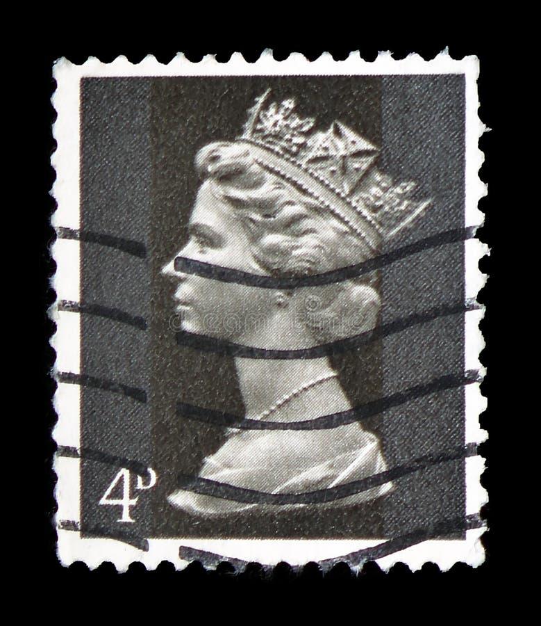 Koningin Elizabeth II - 4d Predecimal Machin serie, circa 1968 royalty-vrije stock foto