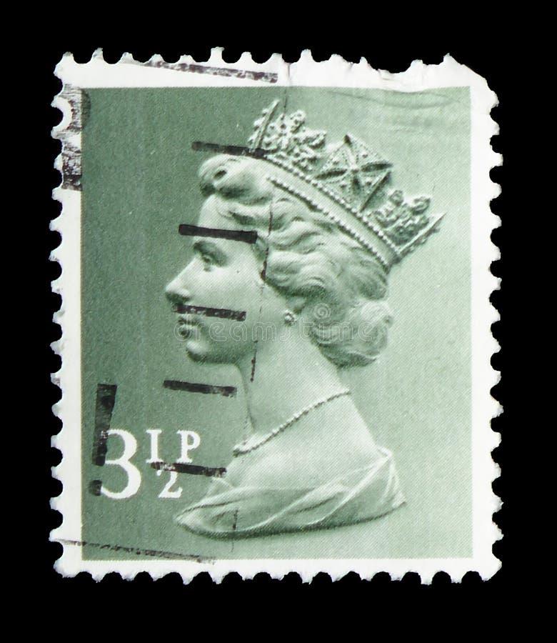 Koningin Elizabeth II - Decimale Machin serie, circa 1974 royalty-vrije stock foto