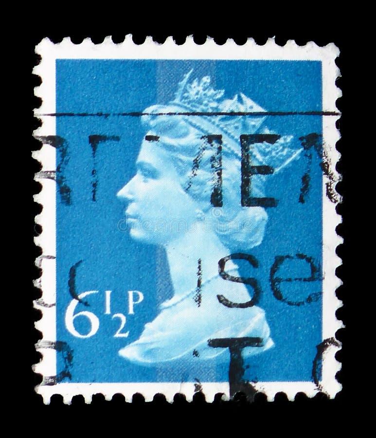 Koningin Elizabeth II - Decimale Machin serie, circa 1977 stock foto