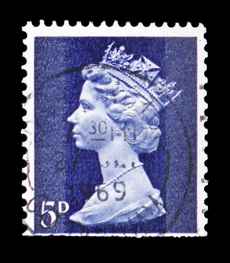 Koningin Elizabeth II - Decimale Machin serie, circa 1968 royalty-vrije stock afbeelding