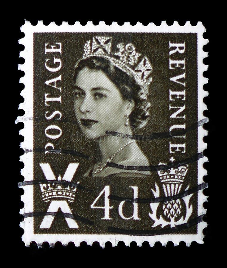 Koningin Elizabeth II - het Regionale Portret van 5d Wilding, - Schotland serie, circa 1968 royalty-vrije stock foto
