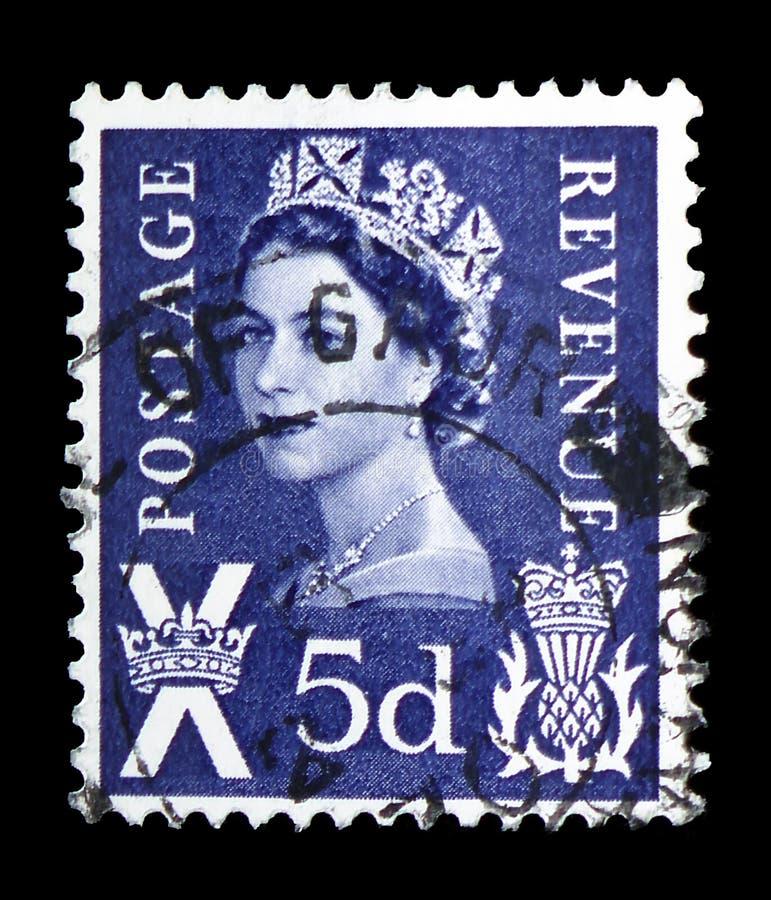 Koningin Elizabeth II - het Regionale Portret van 5d Wilding, - Schotland serie, circa 1968 stock fotografie