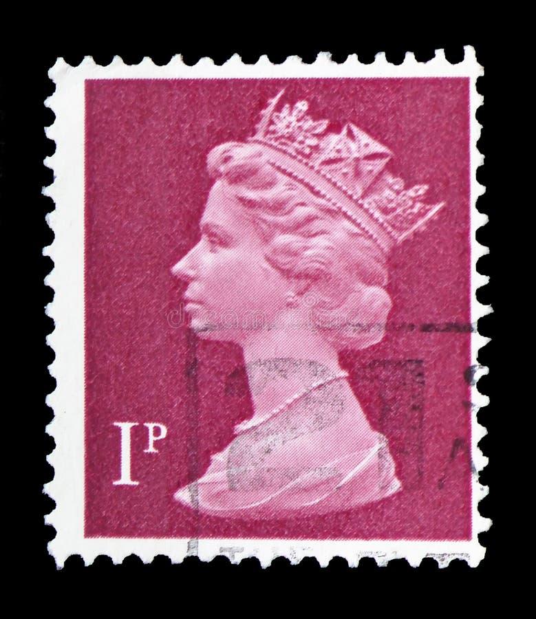 Koningin Elizabeth II, Predecimal Machin serie, circa 1979 royalty-vrije stock fotografie