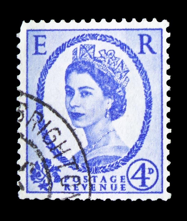 Koningin Elizabeth II - Predecimal Wilding serie, circa 1968 royalty-vrije stock fotografie