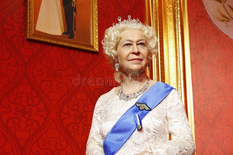 Koningin Elizabeth II, wasstandbeeld, wascijfer, waxwork royalty-vrije stock foto's