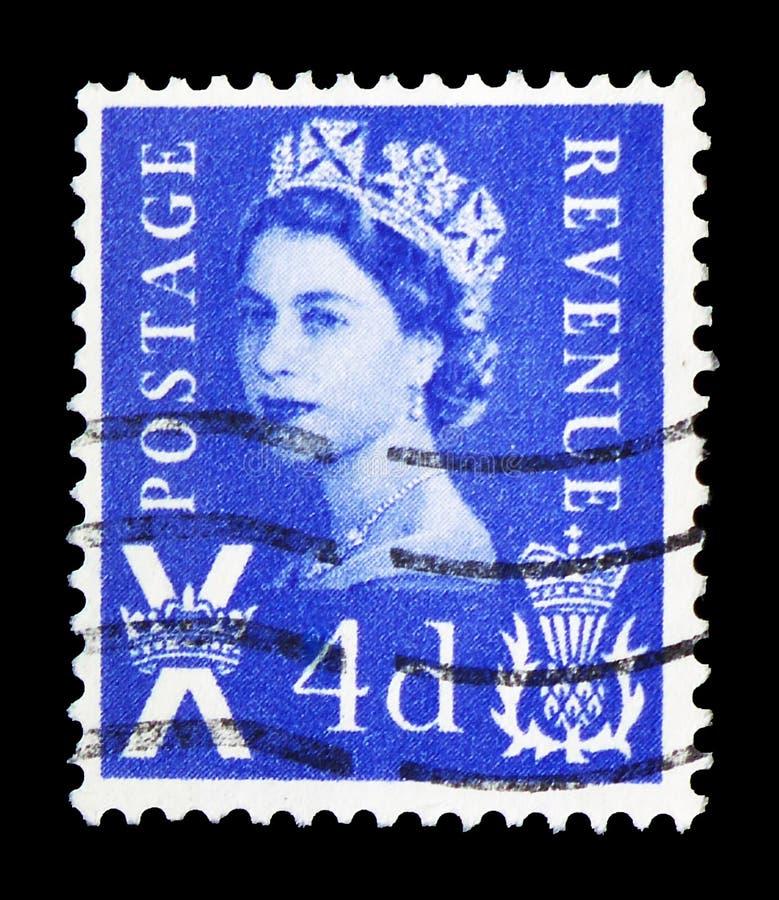 Koningin Elizabeth II - Wilding-Regionaal Portret, - Schotland serie, circa 1967 royalty-vrije stock foto