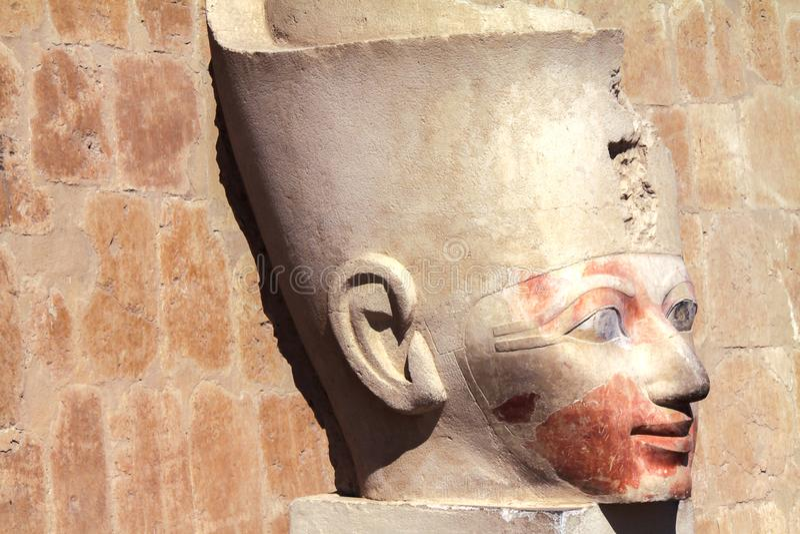 Koningin Hatshepsut Head Statue in Vallei van de Koningen Egypte royalty-vrije stock afbeelding