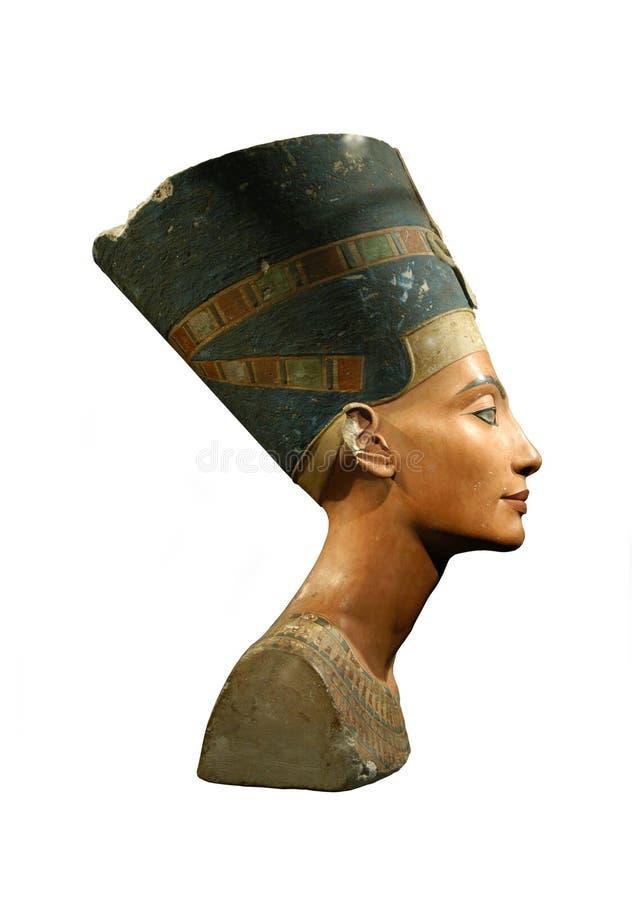Koningin Nefertiti Isolated op Wit stock afbeeldingen