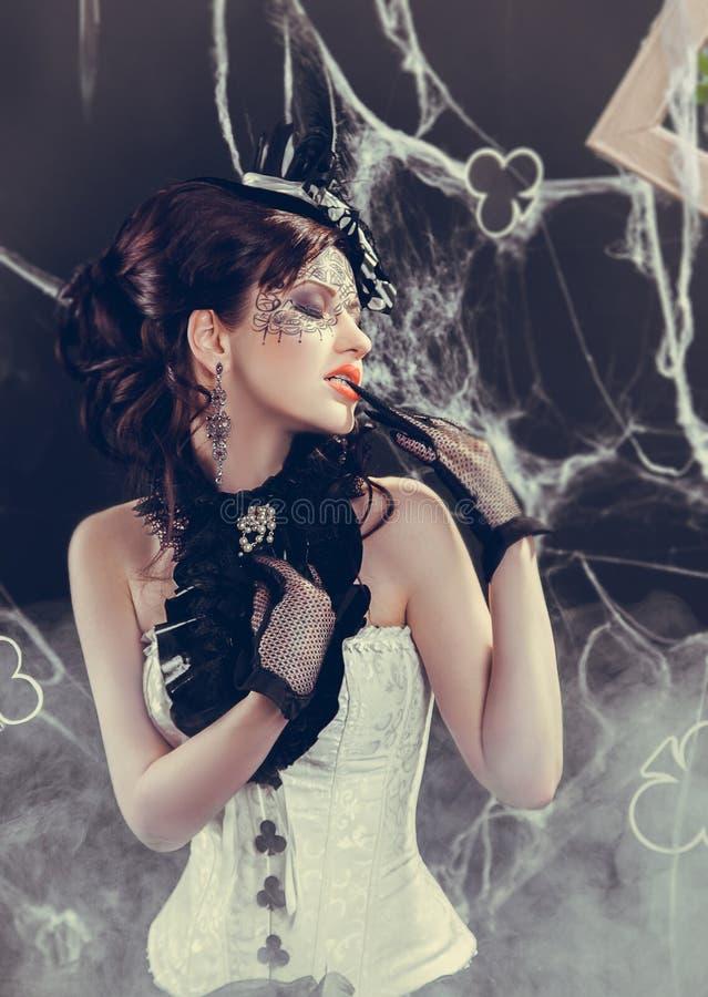 Koningin van clubs stock afbeelding