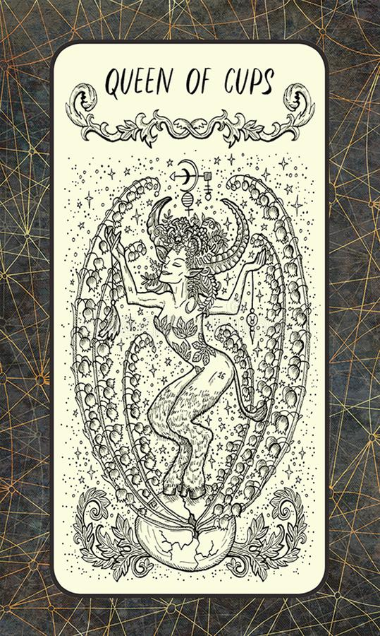 Koningin van koppen Minder belangrijke Arcana-Tarotkaart vector illustratie