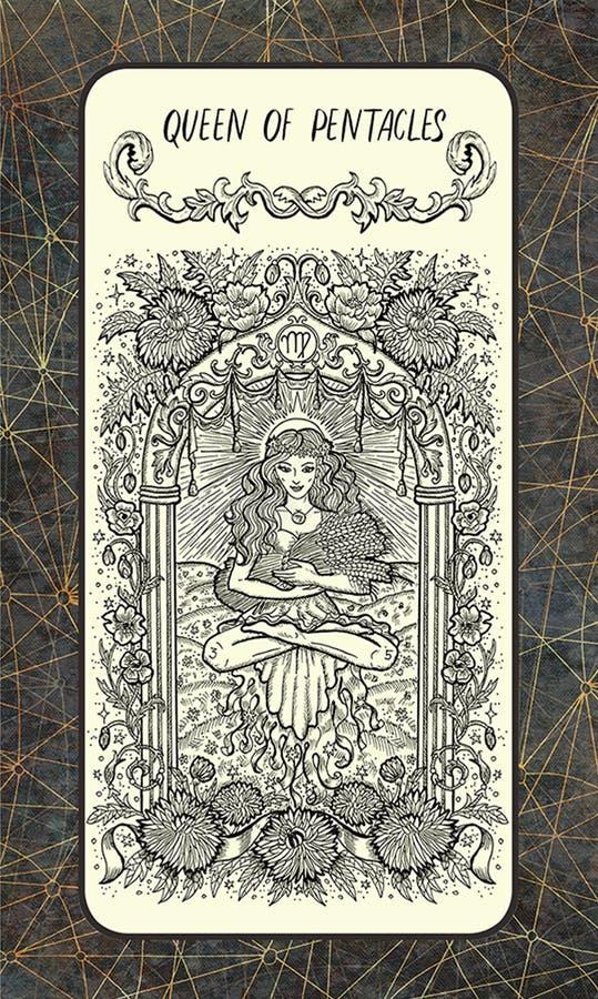 Koningin van pentacles De Magische kaart van het Poorttarot stock illustratie