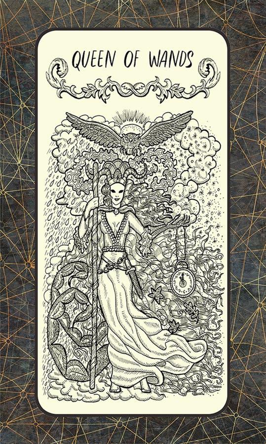 Koningin van toverstokjes De Magische kaart van het Poorttarot stock illustratie