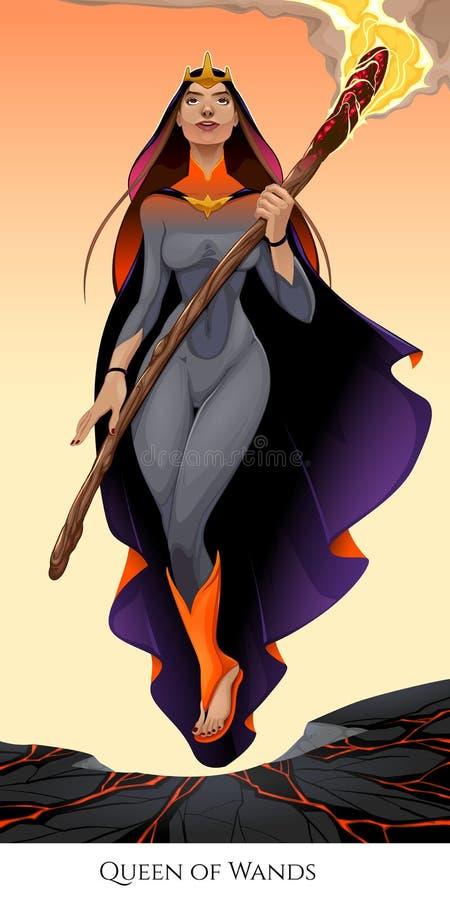 Koningin van toverstokjes, tarotkaart stock illustratie