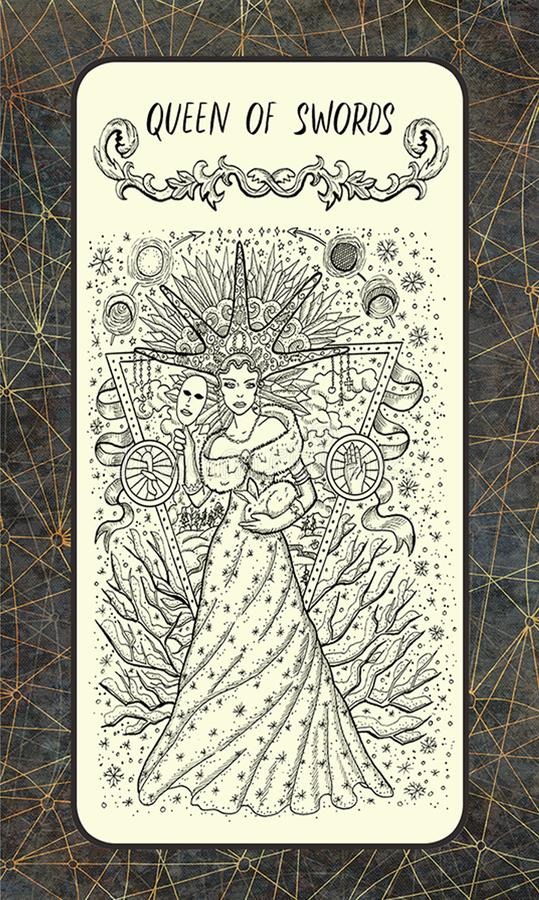 Koningin van zwaarden De Magische kaart van het Poorttarot stock illustratie