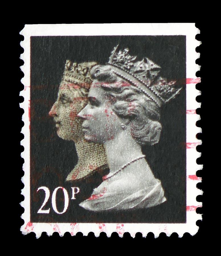 Koningin Victoria en Koningin Elizabeth II, 150ste Verjaardag van Penny Black serie, circa 1990 stock foto