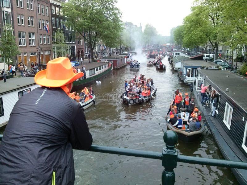 Koninginnen dag Amsterdam stock afbeeldingen
