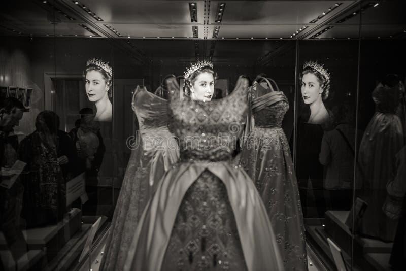 Koningins kleding, Buckingham Palace, Londen royalty-vrije stock foto's