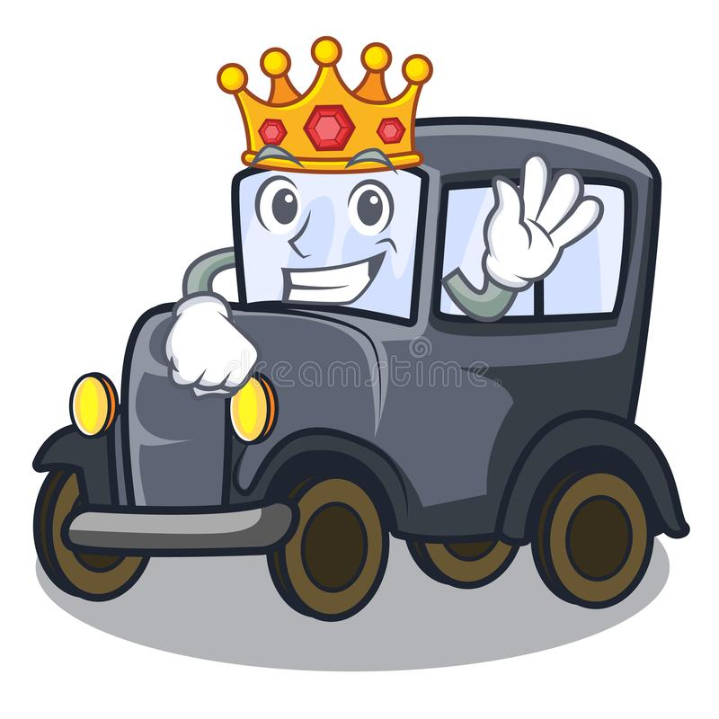 Konings oude miniatuurauto in vormmascotte vector illustratie