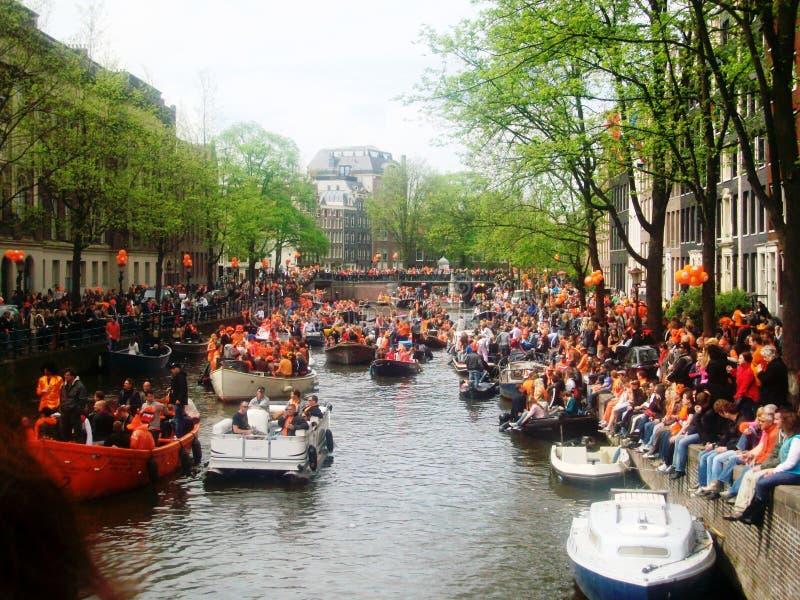 Konings` s Dag, vroeger Koningin` s Dag, Amsterdam, Holland, Nederland stock foto's