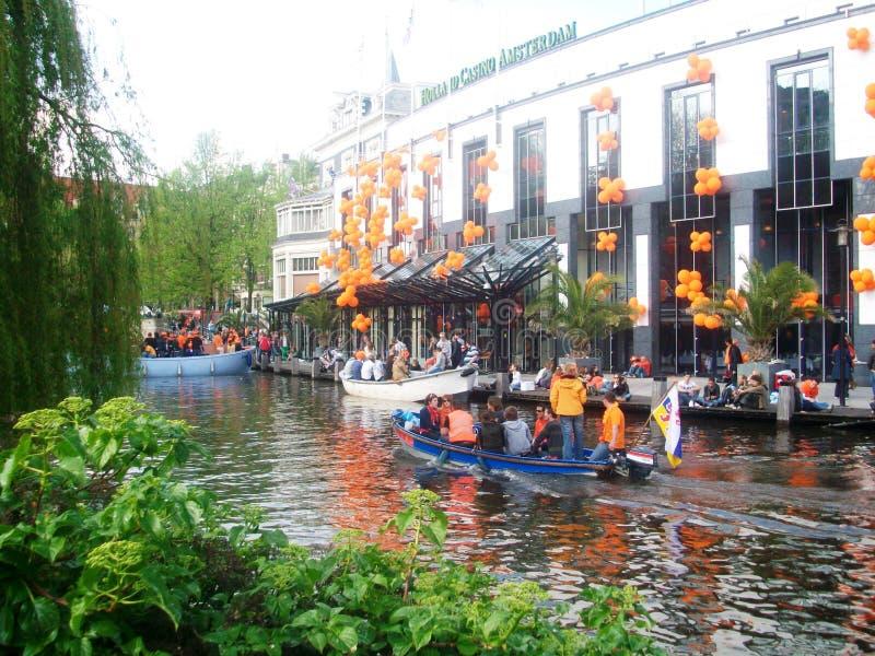 Konings` s Dag, vroeger Koningin` s Dag, Amsterdam, Holland, Nederland stock afbeeldingen