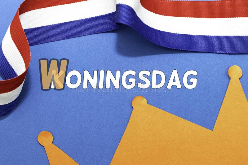Koningsdag概念与文本Woningsdag 库存照片