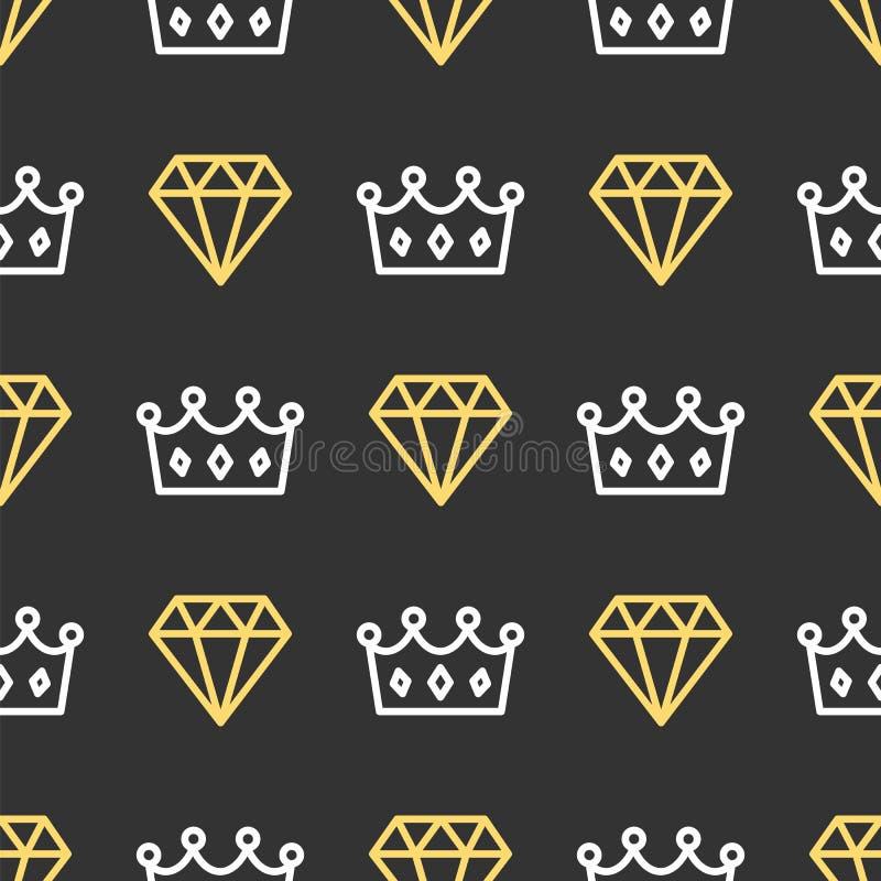 Koningskroon en briljant op naadloze patroonachtergrond Koninklijk kroon en diamantoverzicht op zwarte achtergrond royalty-vrije illustratie