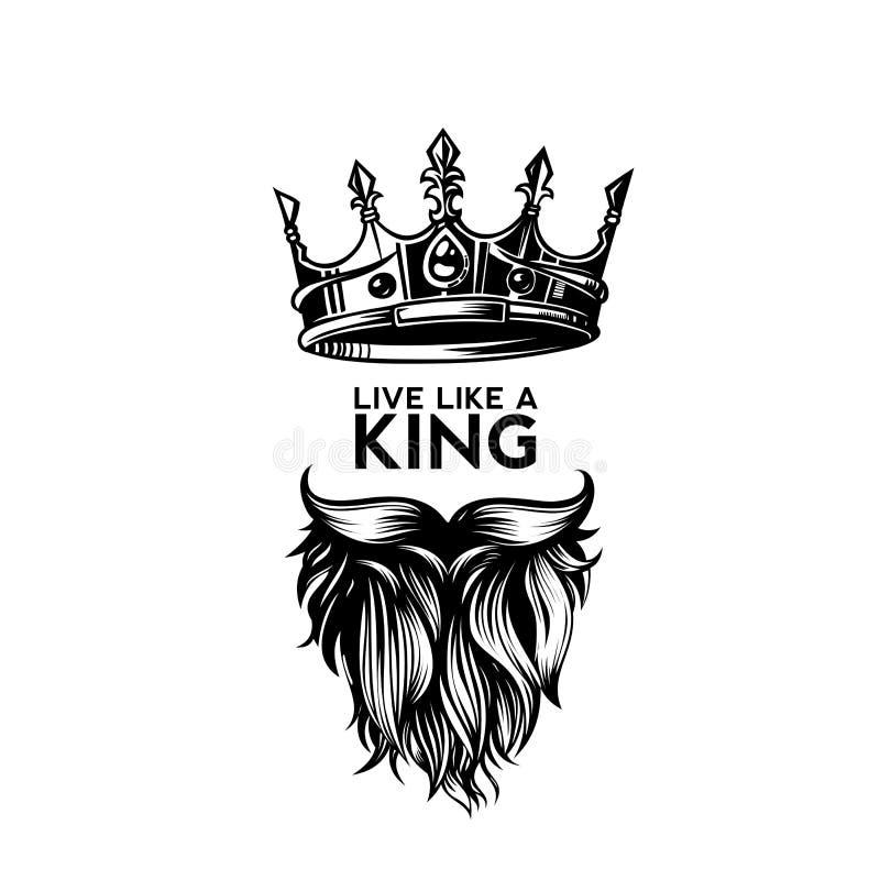 Koningskroon, snor en de vectorillustratie van het baardembleem vector illustratie