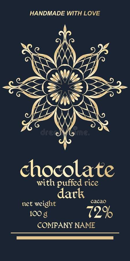 Koninklijk gouden verpakkingsontwerp van chocoladerepen Gemakkelijk editable verpakkend malplaatje Elegante sneeuwvlok of mandala vector illustratie