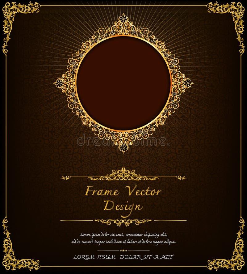 Koninklijk kader op zwarte patroonachtergrond, Uitstekend fotokader op mannetjeseendachtergrond, antiquiteit vector illustratie