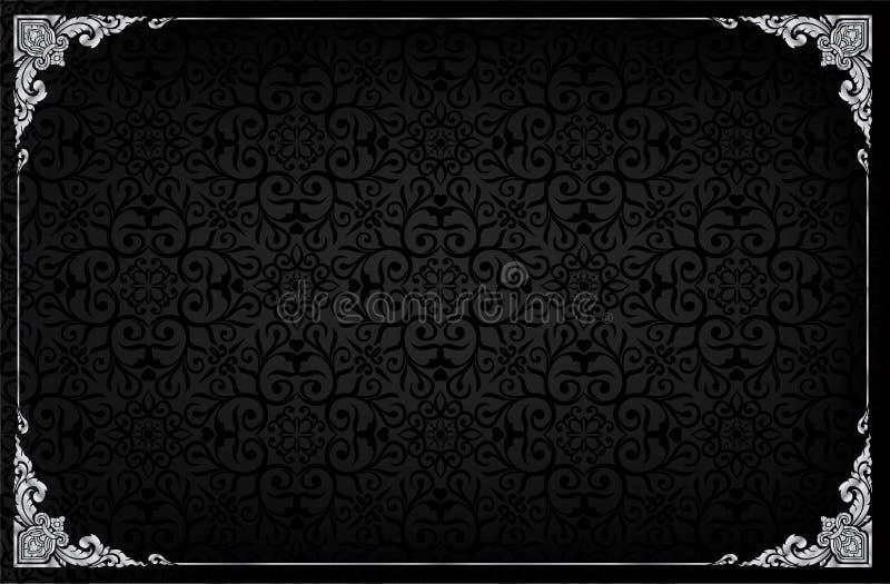 Koninklijk kader op zwarte patroonachtergrond, Uitstekend fotokader op mannetjeseendachtergrond, antiquiteit royalty-vrije illustratie