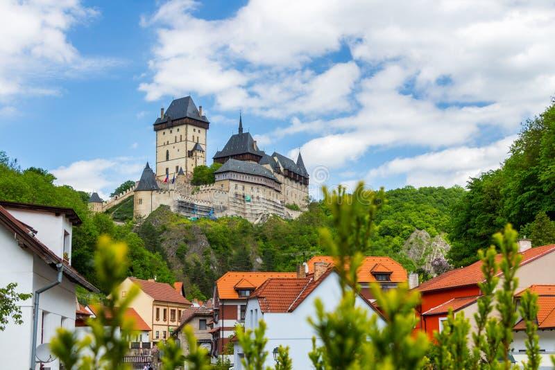 Koninklijk kasteel Karlstejn, Tsjechische Republiek stock foto's