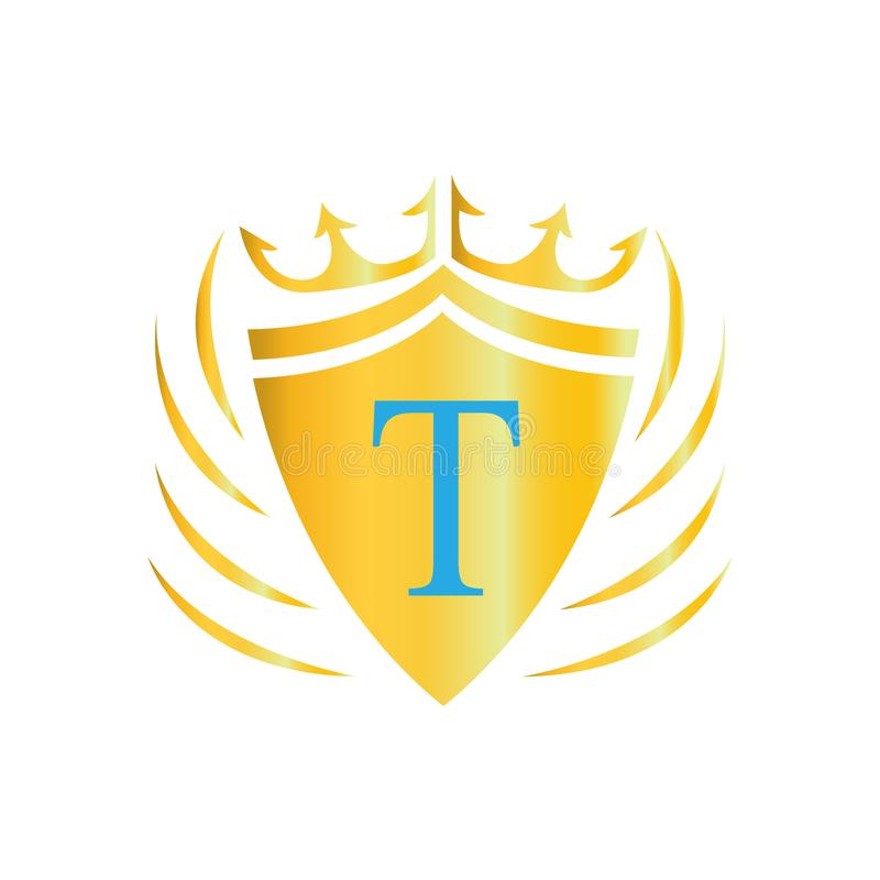 Koninklijk Kroonembleem Het Embleem van de brief T Vectorpictogram van embleem stock illustratie