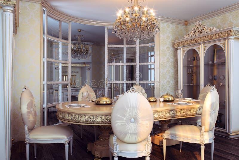 Koninklijk meubilair in luxe barok binnenland stock foto's