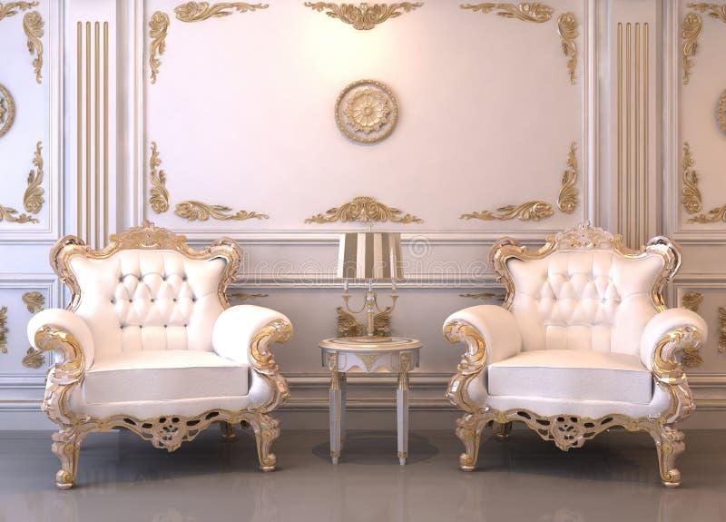 Koninklijk meubilair in luxebinnenland royalty-vrije illustratie