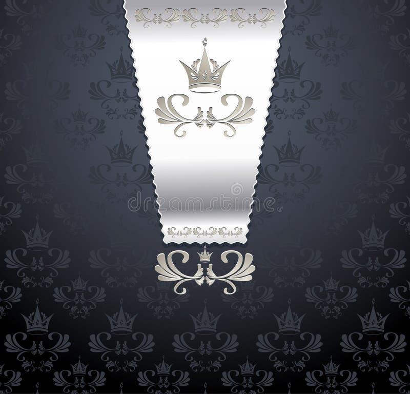 Koninklijk naadloos patroon met kroon royalty-vrije illustratie