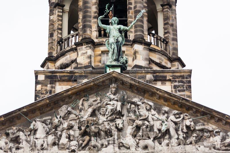 Koninklijk-palais führen Turm im Amsterdam-Verdammungsquadrat einzeln auf lizenzfreies stockbild