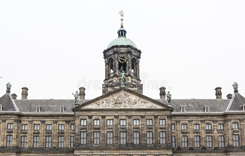 Koninklijk the royal Palace of Amsterdam. Photographed frontally stock photography